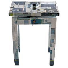 Contemporary Maple Benchlet Stool or Bench Hand-Painted by Todd Germann