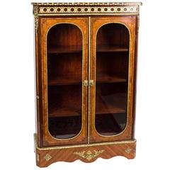 19th Century Victorian Burr Walnut Low Display Cabinet