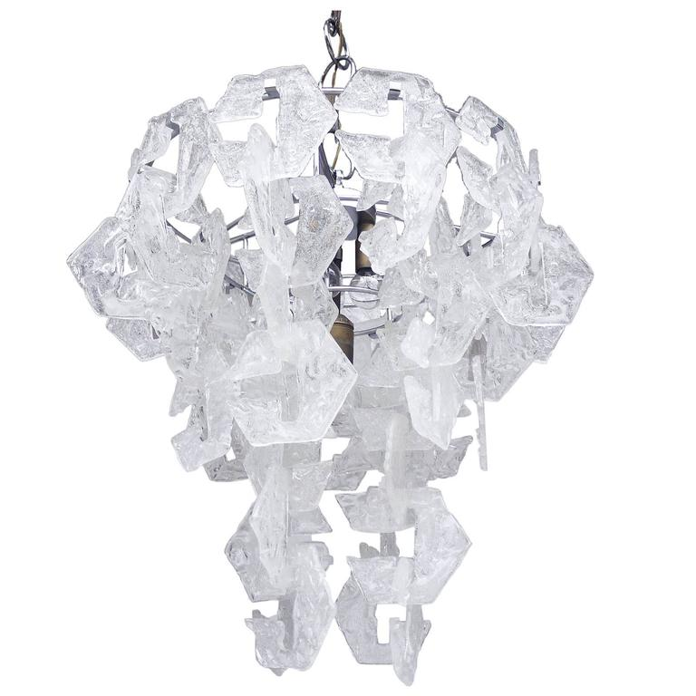 Large Interlocking Murano Glass Chandelier by Mazzega