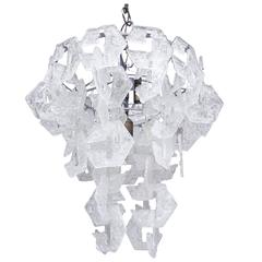 Large Interlocking Murano Glass Chandelier by Mazzega