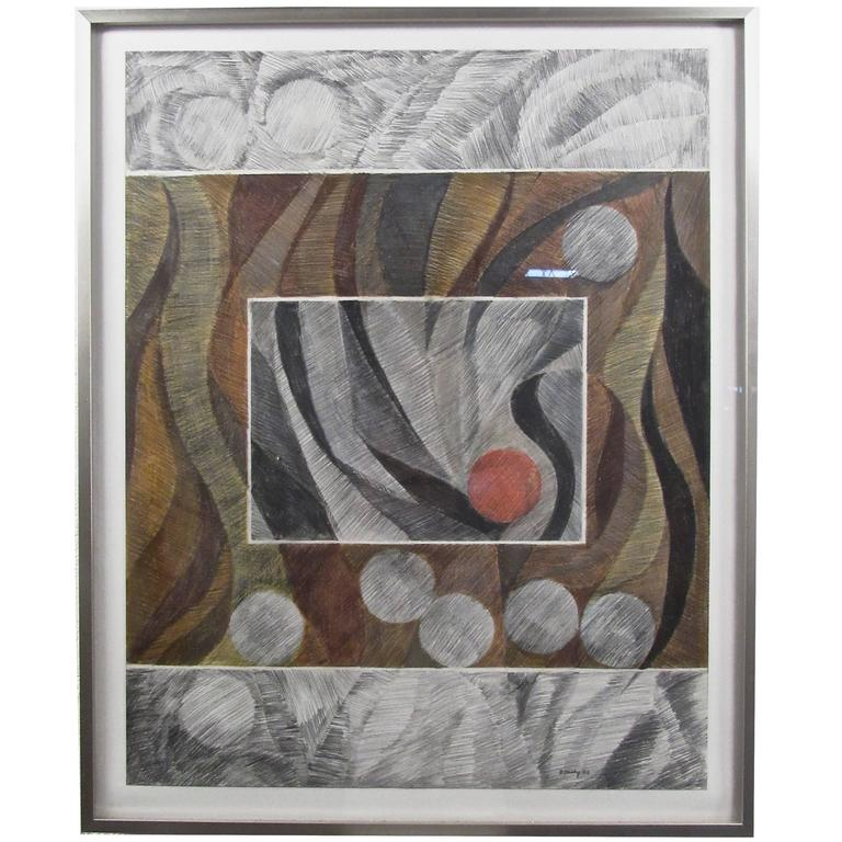 "Abstract Pencil Drawing ""Luberon Dusk"" by Charles Domsky"
