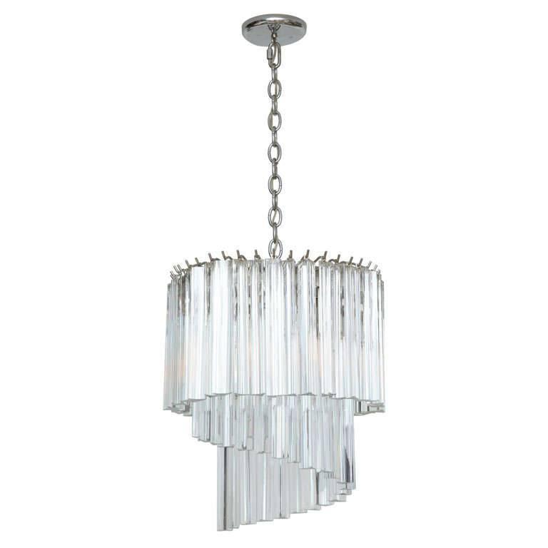 Murano Tulip Chandelier: Murano Sparkling Glass Prism Chandelier At 1stdibs