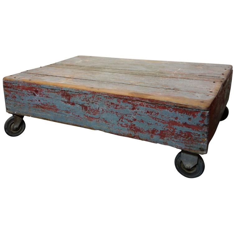 Painted Gray and Red Industrial Cart