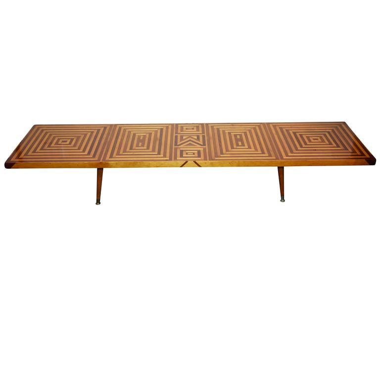 Mid-Century Inlaid Walnut and Maple Coffee Table