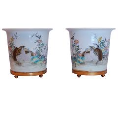 Matched Pair of Late 19th-Early 20th Century, Chinese, Cachepot
