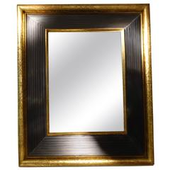 19th Century Gold Engraved Brown Border Mirror, France