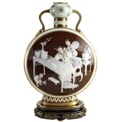 Pate-Sur-Pate Decorated Porcelain Moon Flask by Mintons, 1876