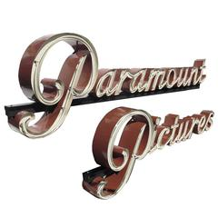 Historic Paramount Pictures Sign in Porcelain Enamel and Neon