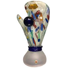 Magnificent Modernist Colorful Murano Glass Catcher's Mitt and Ball