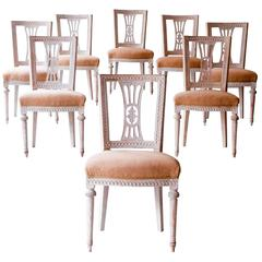 Set of Eight 18th Century Gustavian Dining Chairs