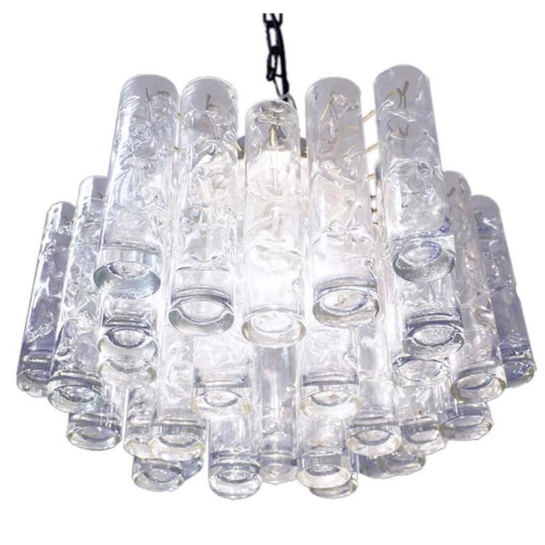 Murano Glass Tube Flush Mount Chandelier by Doria, Germany 1960s