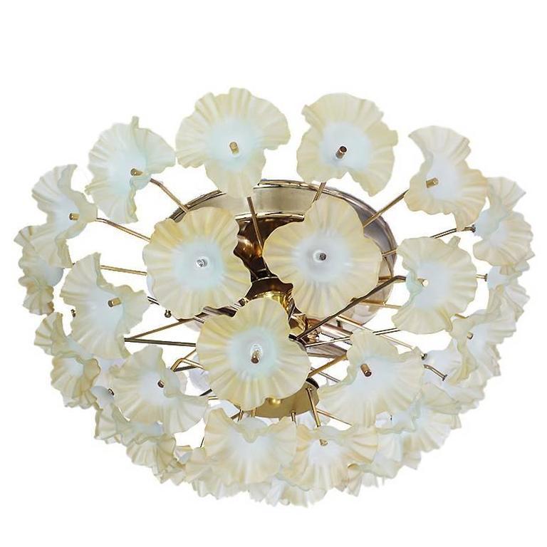 Murano Glass Flower Flush Mount Chandelier, Italy 1960s