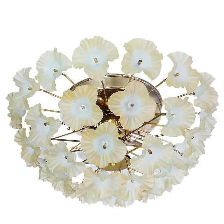 1960 Italy Sputnik Flush Mount Chandelier Turquoise Murano Glass Flowers & Brass