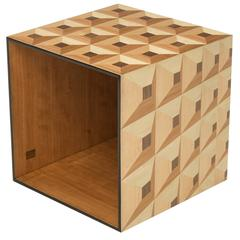 Moonlight Kaleidoscope Side Table Cube in Wood Marquetry