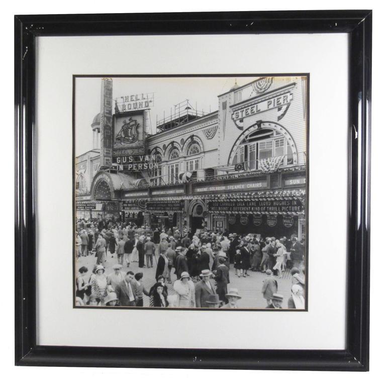 Vintage Atlantic City Boardwalk Black and White Print Photograph