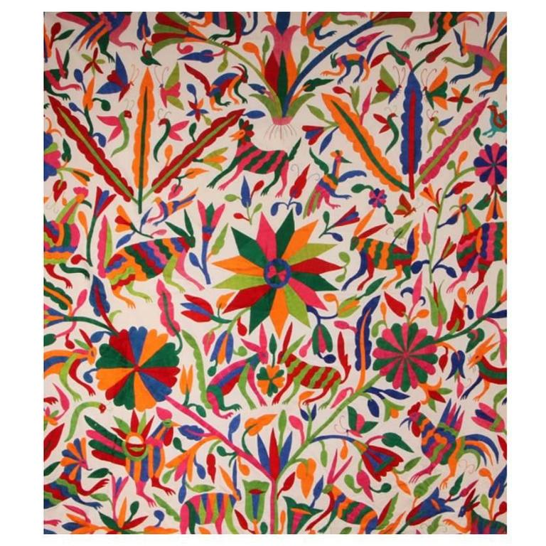 Traditional Mexican Hand Embroidered Folk Art Otomi For Sale