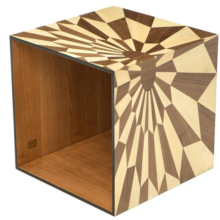 Tectonic Silence Side Table Cube in Wood Marquetry 1