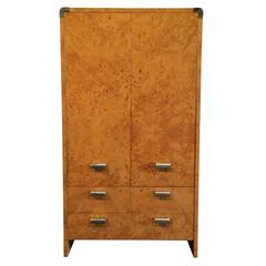 Burl and Stainless Steel Tall Dresser, USA, 1970s