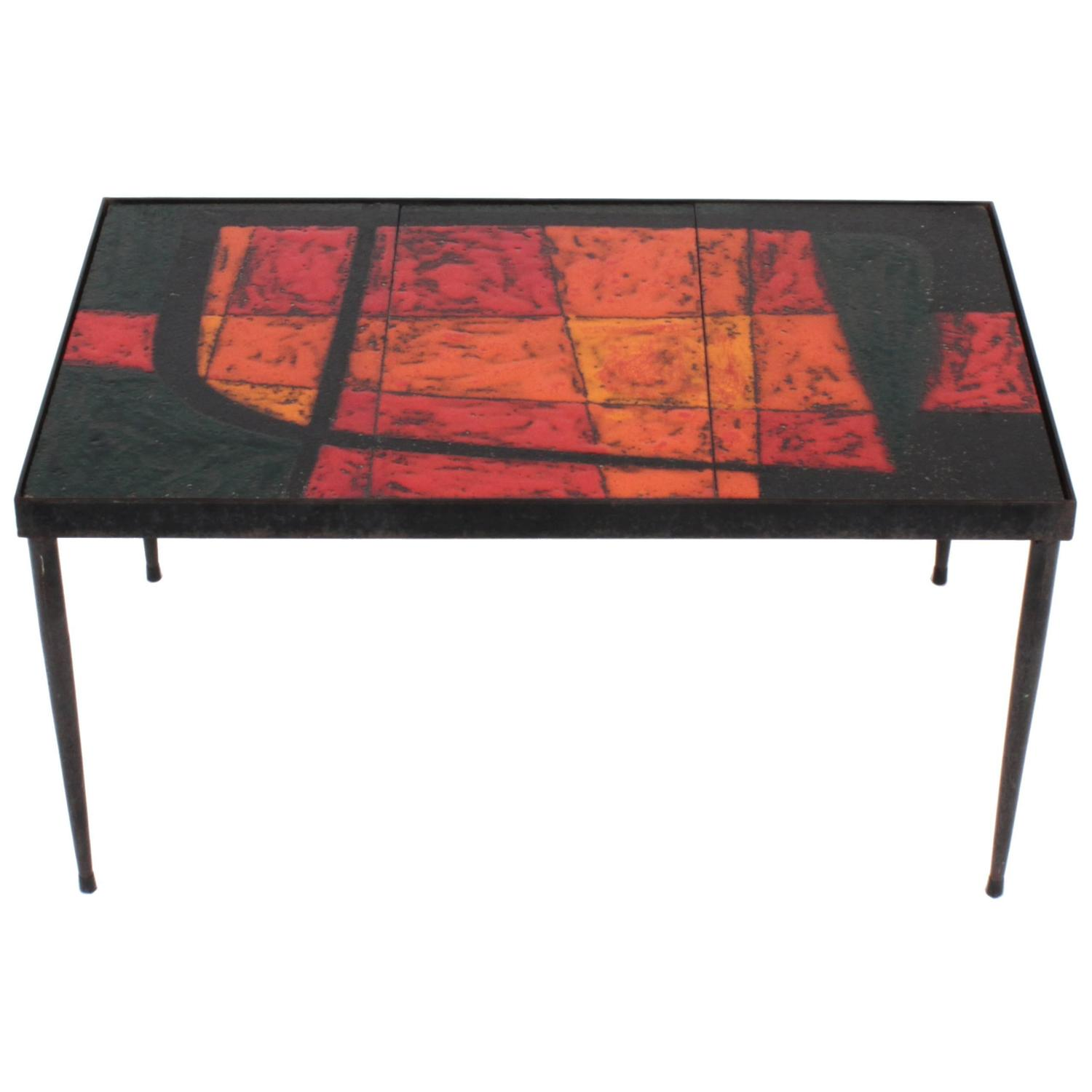 Enameled Lava Coffee Table By The French Ceramists Robert