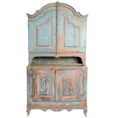 Blue Painted Provincial Cabinet