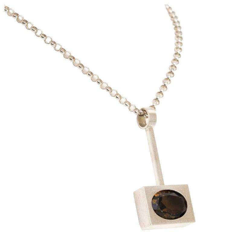 Scandinavian Modern, Kupitaan Kulta Silver and Quartz Pendant For Sale