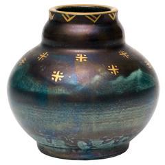 Scandinavian Modern, Art Deco Blue Luster Vase by Josef Ekberg, 1928