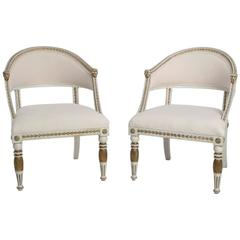 Pair of White-Painted Gustavian Style Tub Armchairs