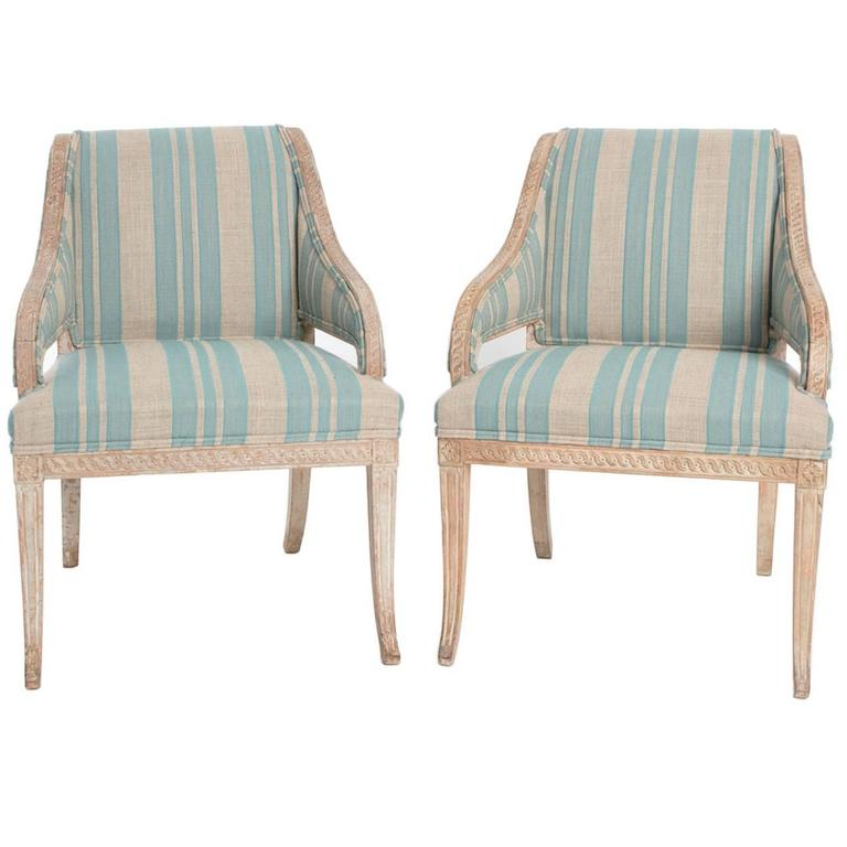 Pair of  Grey Painted Late Gustavian Armchairs