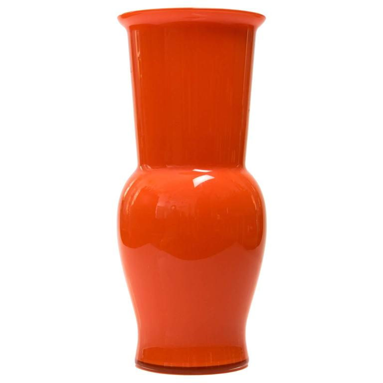 Scandinavian Modern Large Danish Red Orange Glass Vase 1960s For