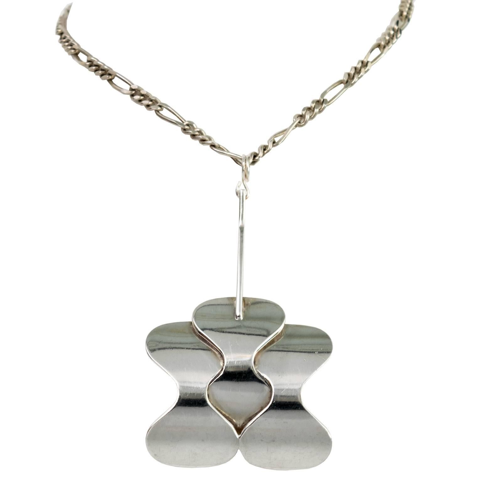 Silver Scandinavian Modern Pendant and Chain from Hopeajaloste OY