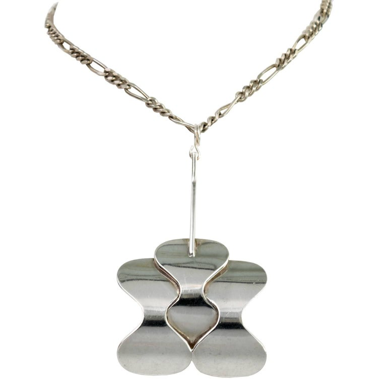Silver Scandinavian Modern Pendant and Chain from Hopeajaloste OY For Sale