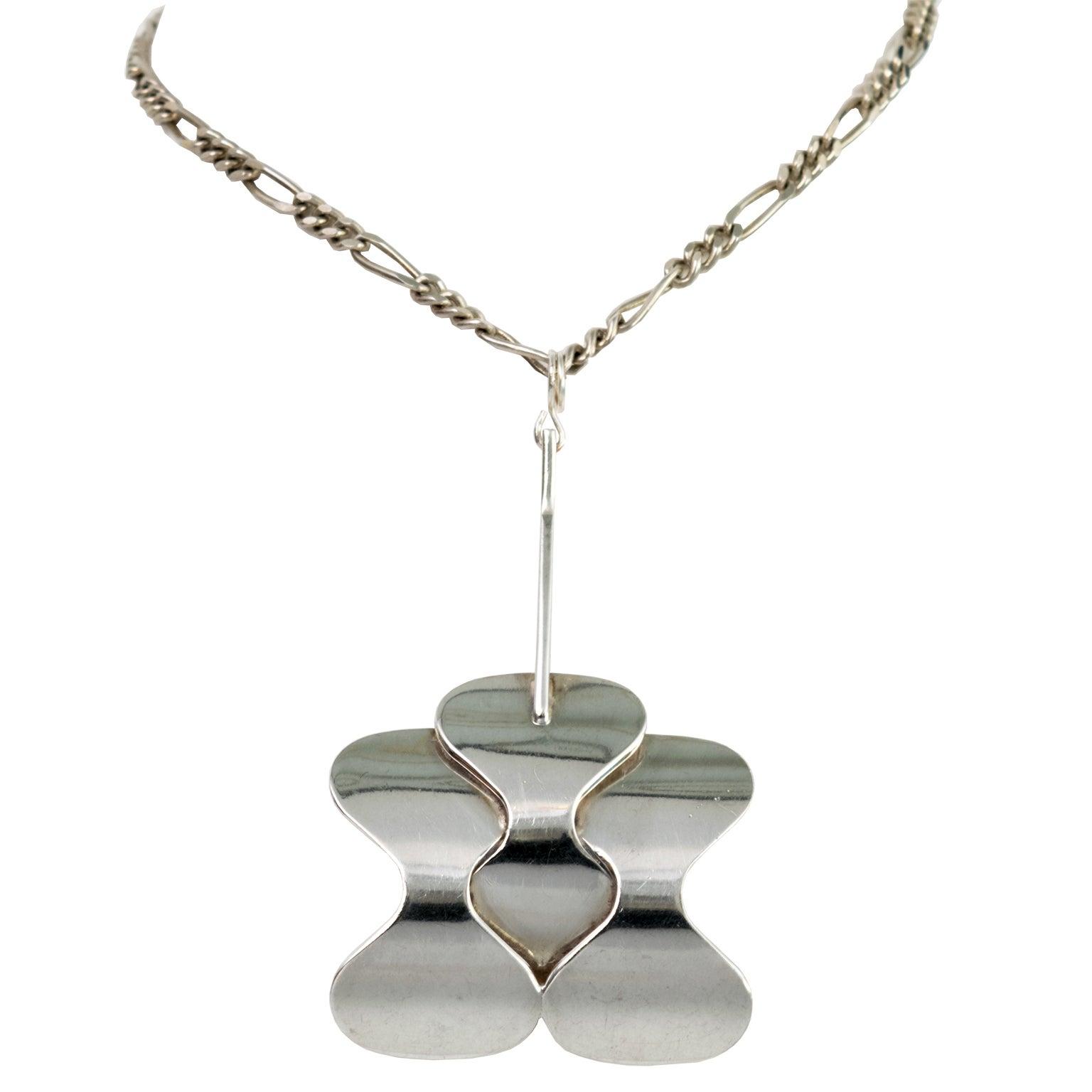 Silver Scandinavian Modern Pendant and Chain from Hopeajaloste OY