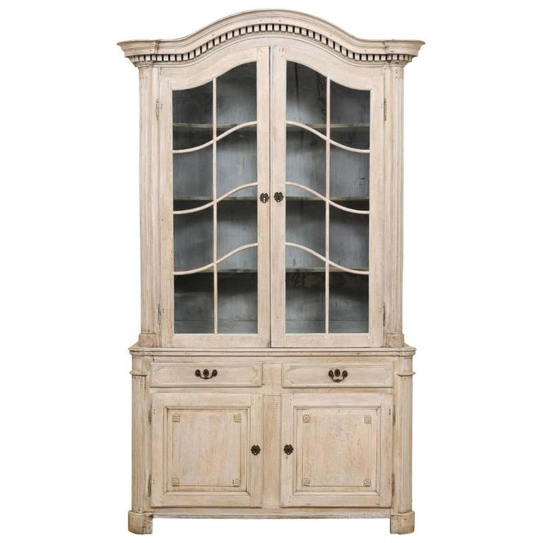 Tall French 19th Century Cabinet With Upper Glass Doors