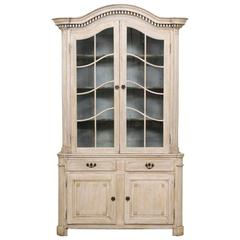 Tall French 19th Century Cabinet with Upper Glass Doors and Bonnet Pediment