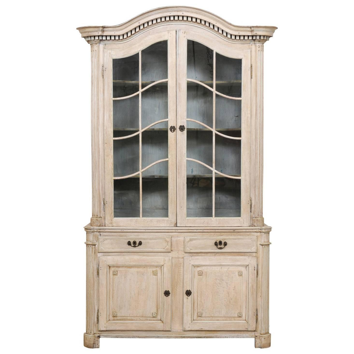 Tall french 19th century cabinet with upper glass doors for Upper cabinets for sale