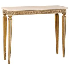 Italian Vintage Greek Key Console Table with Marble Top and Fluted Legs