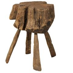 Belgian 19th Century Rustic Tree Stump Drink Table