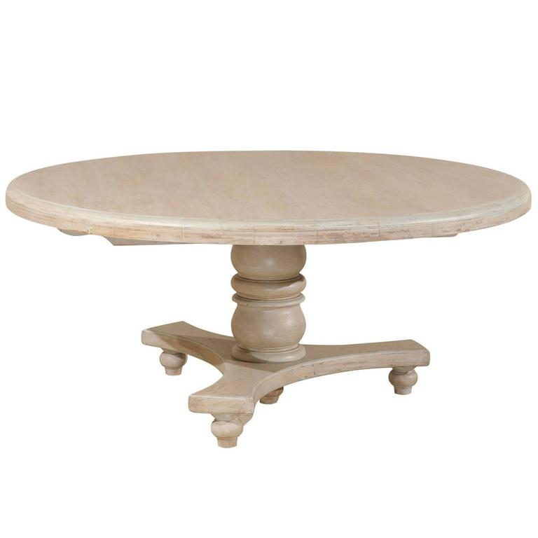 Round Teak Wood Dining Table With Central Pedestal And Tripod Base For Sale
