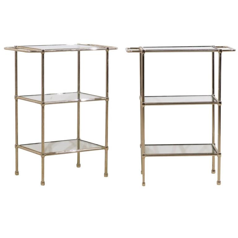 Pair of Sleek Modern Style Chrome and Glass Tiered Drink Tables with Clean Lines