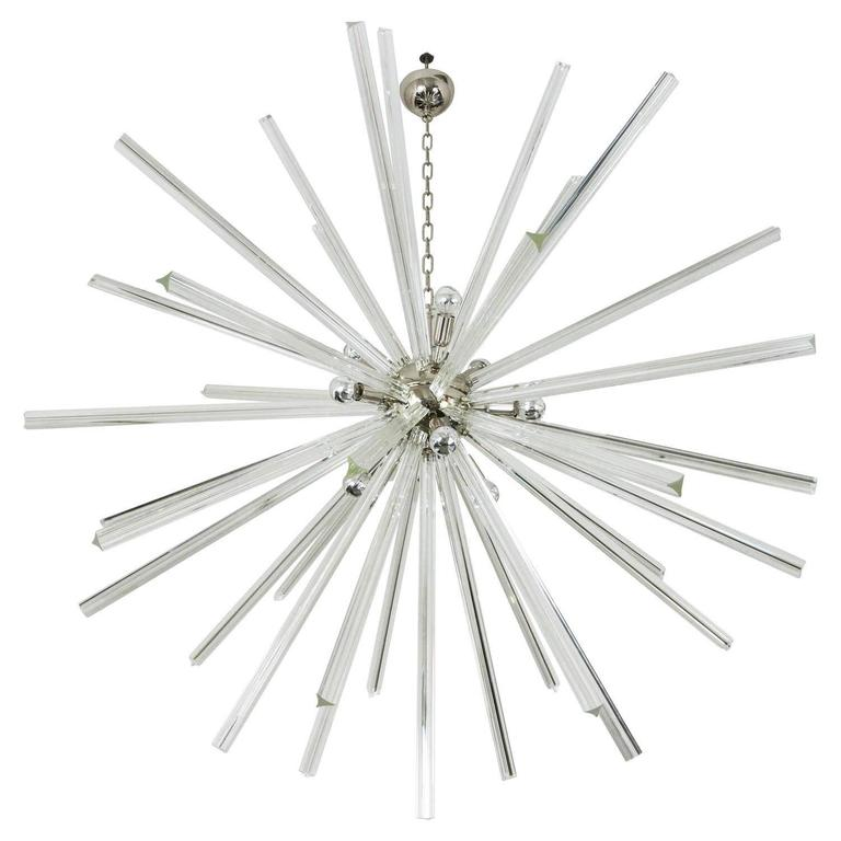 Italian Murano Triedri Glass Crystal Sputnik Chandelier in Style of Venini
