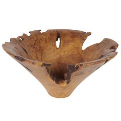 Melvin & Mark Lindquist Birch Root Turned Bowl, Signed and Dated 1986