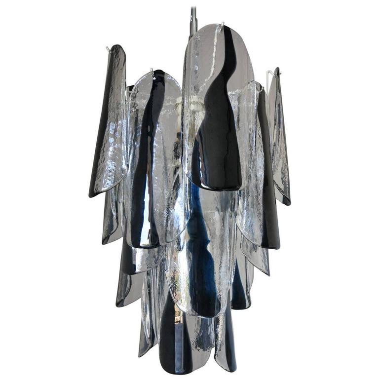 Italian Mid-Century Black and White Murano Glass Chandelier by Mazzega