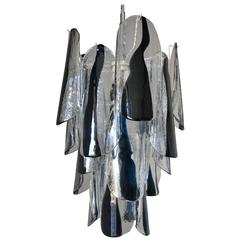 Italian Mid-Century Black and White Murano Glass Chandelier by Mazzega