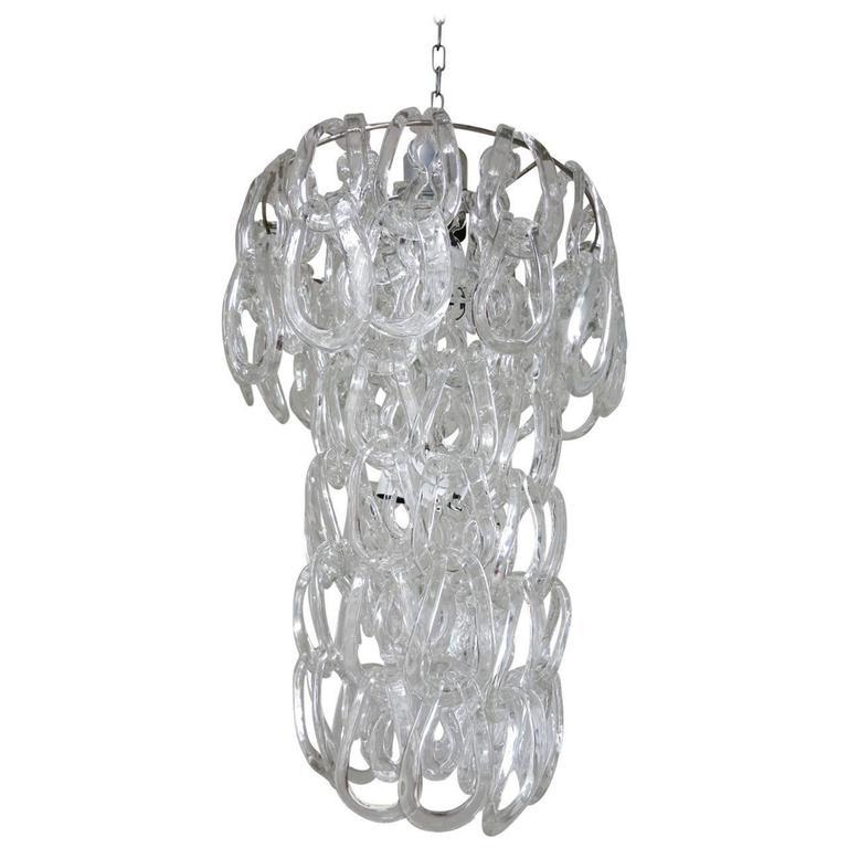 Italian Mid-Century Murano Glass Links Chandelier by Vistosi