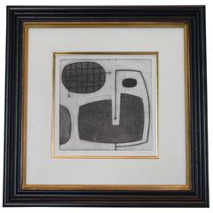 Black and White Abstract Etching by English Artist Oliver Gaiger, Contemporary