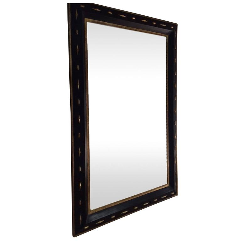 19th century large black with gold framed mirror italy for Big black wall mirror