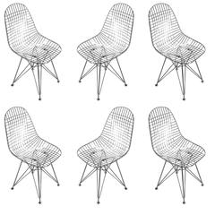 Chrome Re-Edition Eames DKR Wire Side Chair for Herman Miller Chairs, Set of Six