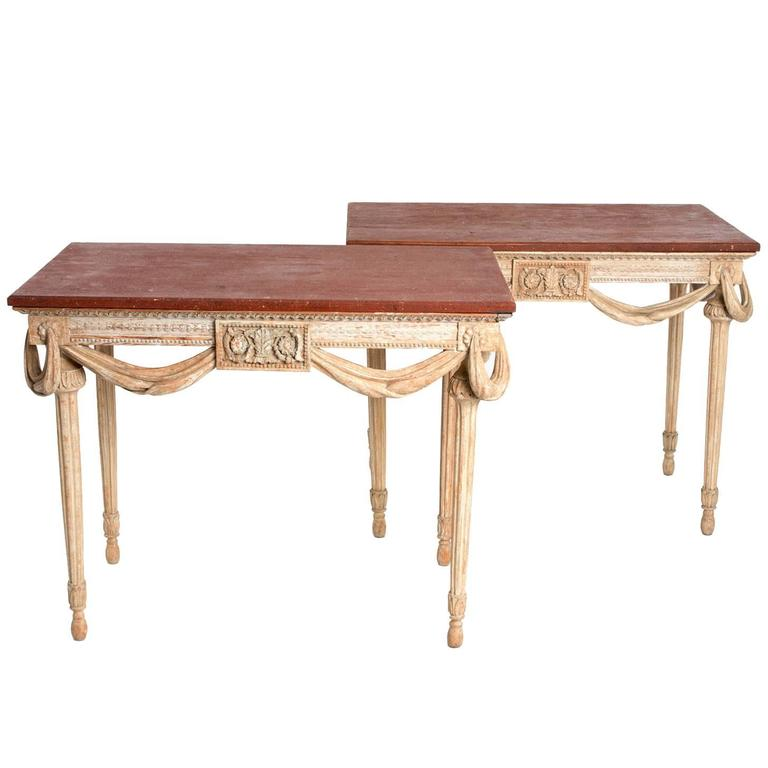 Pair of Painted Gustavian Style Console Tables with Painted Faux Tops