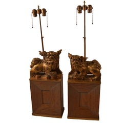 Pair of James Mont Gilt Foo Dog Lamps on Cerused Oak Bases