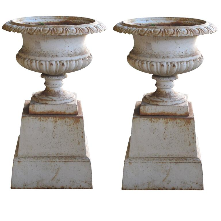 Handsome American Neoclassical Style Iron Painted Campagna Urns on Stands, pair